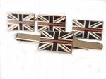 Thin Red Line Fire and Rescue Cufflink, Lapel Badge and Tie Clip Gift Set